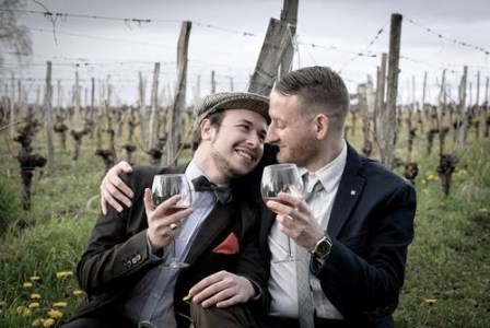 gay couple intimate elopement in winery