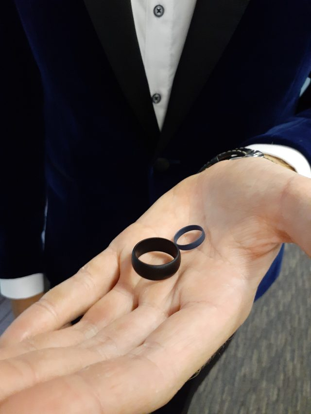 Silicone rubber rings exchanged during beautiful marriage ceremony at Walkabout Creek