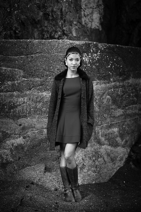 Black & white environmental portrait taken in Wellington, New Zealand