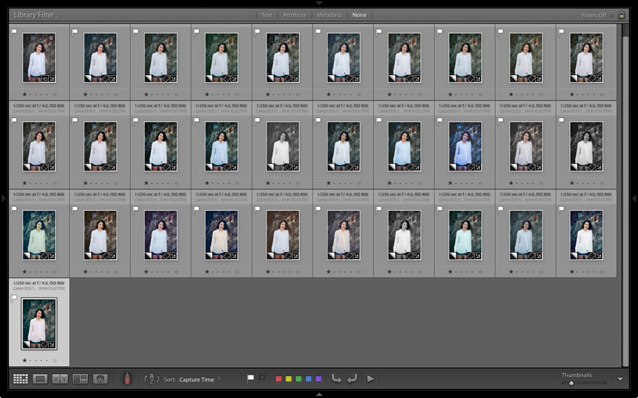 Lightroom Grid View showing Virtual Copies with Develop Presets applied by Excessor plug-in