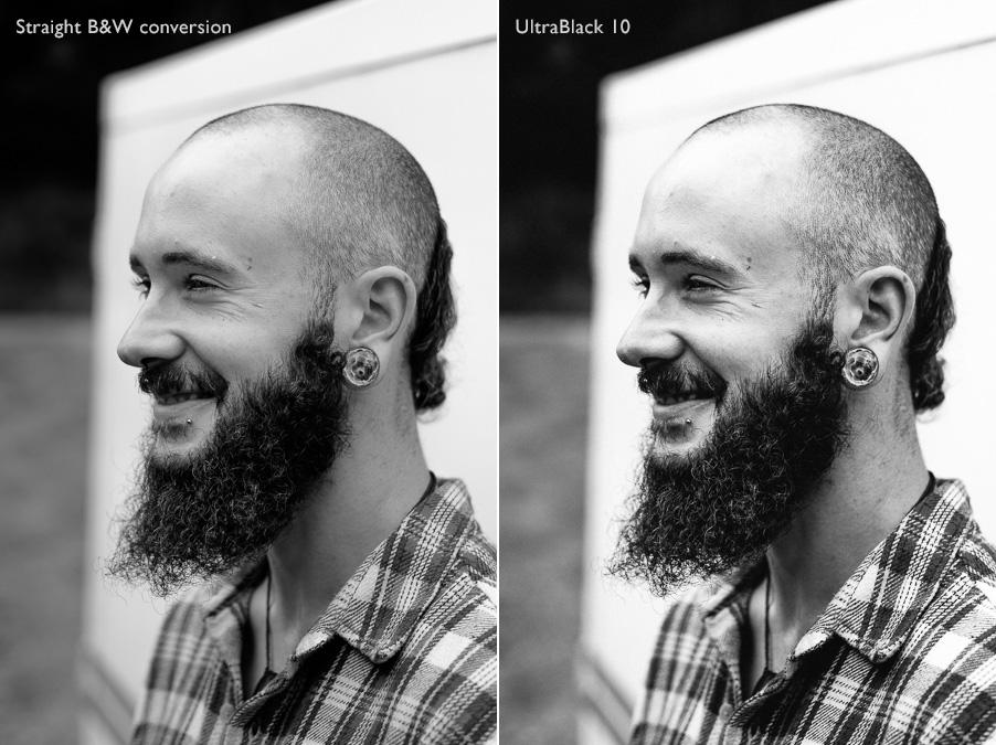Natural light portrait converted to black & white with UltraBlack Lightroom Develop Presets