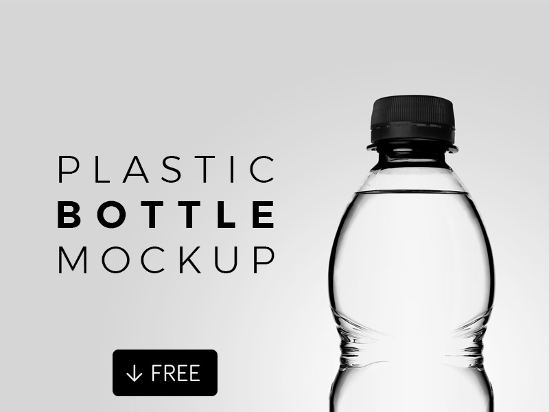 Free Transparent Plastic Bottle Mockup