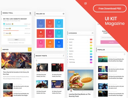 Free Magazine App UI Kit
