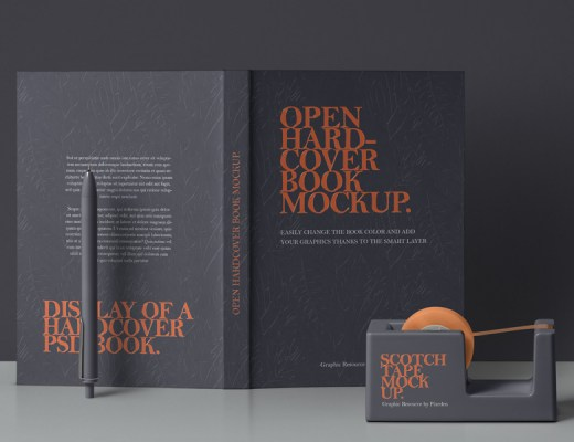 Open book cover free mockup psd