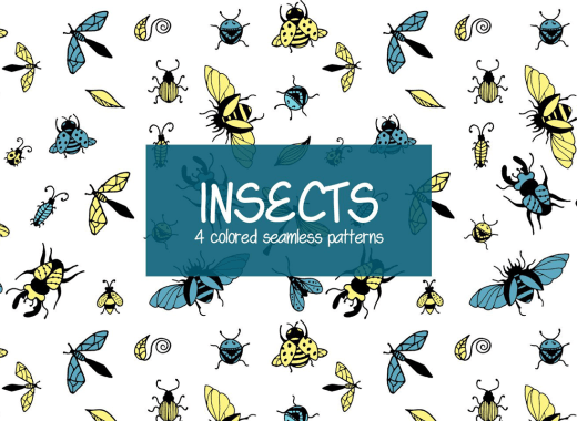 Insects seamless patterns