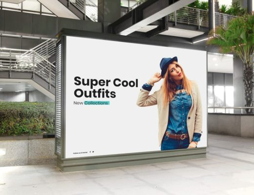 Free Mall Indoor Billboard Digital Ad Mockup PSD