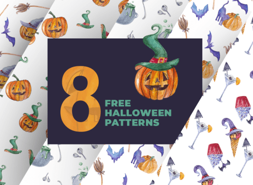 8 Vector Watercolor Halloween Seamless Patterns