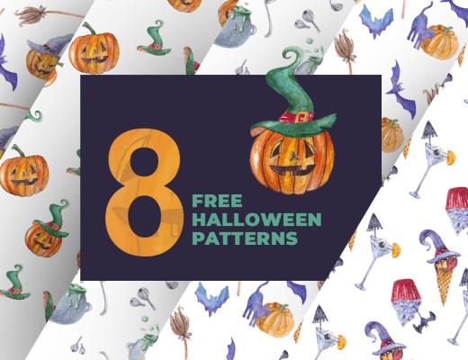 8 Vector Watercolor Halloween Seamless Patterns