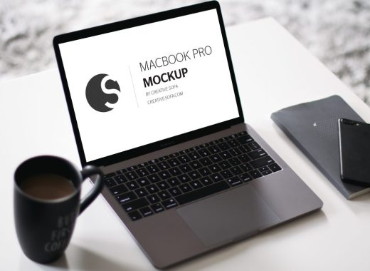 Free Macbook Pro Mockup Coffee