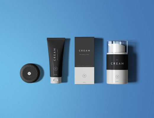 Essential Cosmetics Packaging Set Mockup