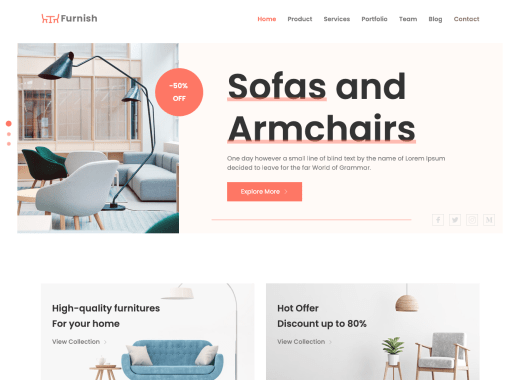 free sofa HTML Website Template, free download for personal use.