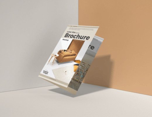 free floating brochure mockup