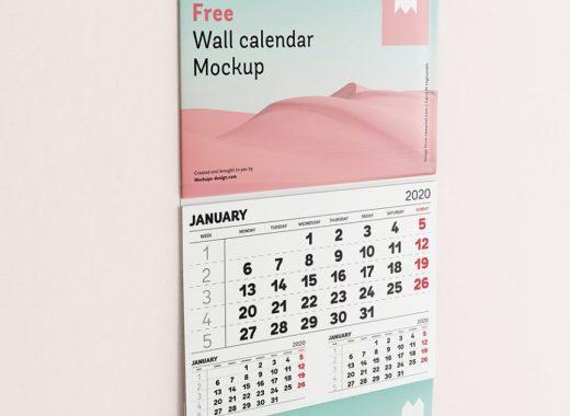 Single Panel Wall Calendar Mockup