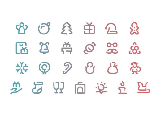 free line Christmas icons