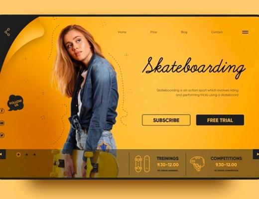 skateboarding landing page template
