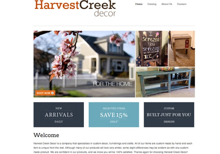 Harvest Creek Decor Web Design