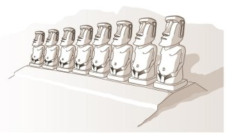 Once in place the Moai are positioned permanently to gaze at the stars.