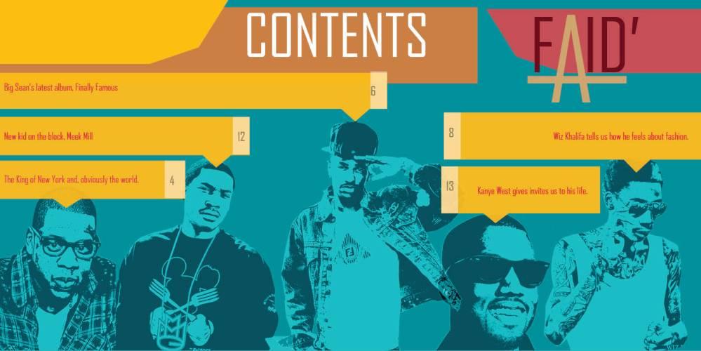 FAID magazine contents page.