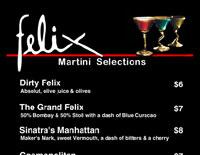 Felix Martini Menu