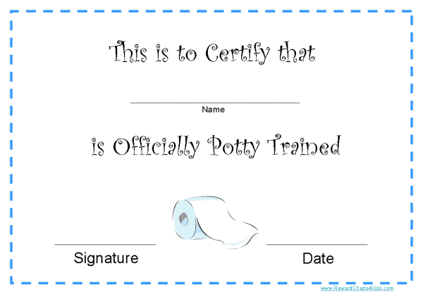 Potty Training Award Certificates