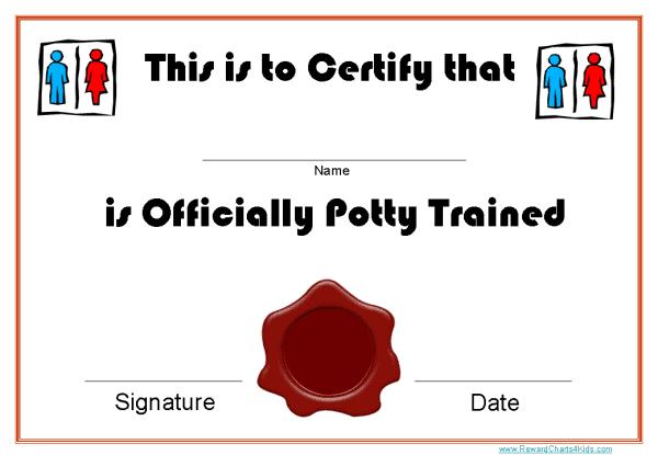 toilet training certificates