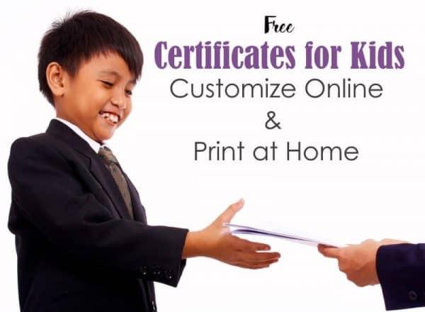 childrens certificates
