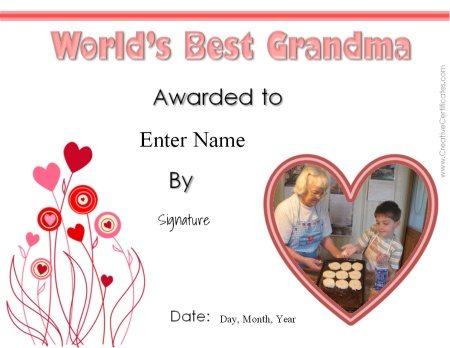 award certificate for grandma