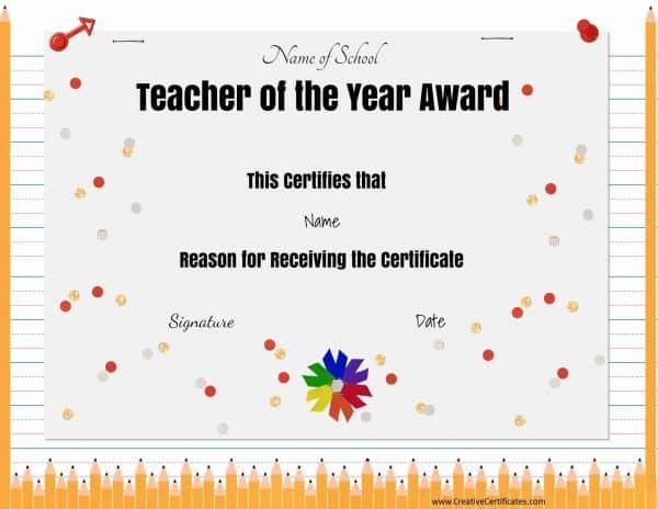 Teacher of the month award