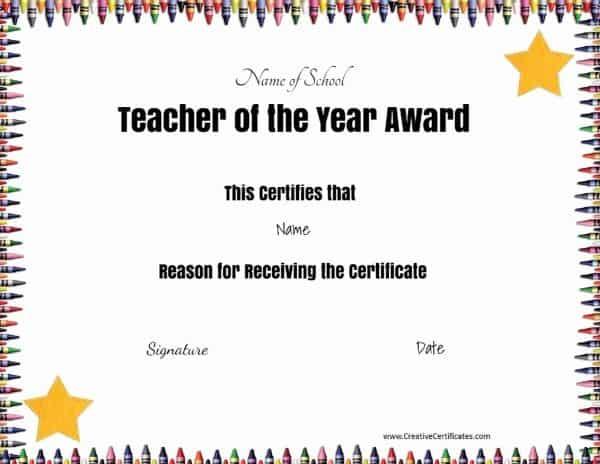 Certificate for teachers
