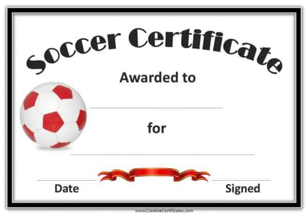 soccer certificate templates - this one has a black border with a red and white soccer ball