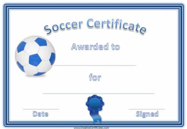 Free soccer printables - this one has a blue border with a blue and white soccer ball