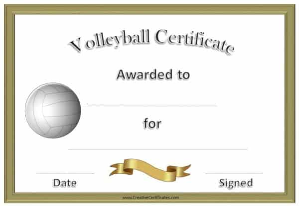 Formal Volleyball certificate in gold