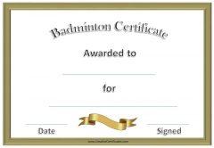 Badminton Certificate template