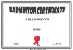 badminton certificate