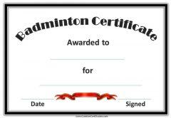 badminton certificates
