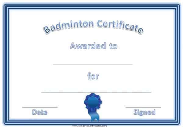 free badminton certificate