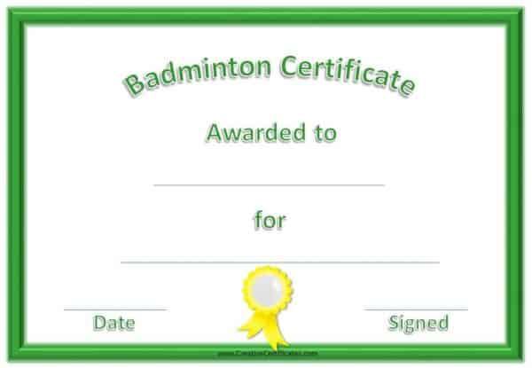 free badminton certificates