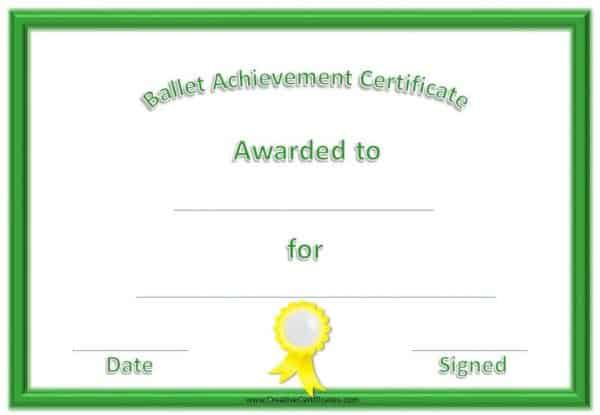 Ballet Certificate