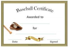 formal baseball certificate with baseball bat, glove and ball