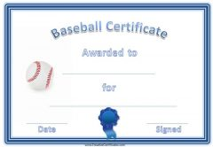 baseball certificate template with blue border and ribbon and baseball
