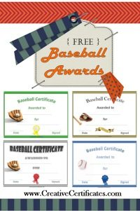 Free baseball awards with some sample certificates that can be downloaded from this site