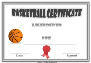 basketball award with a bouble grey border and a red ribbon