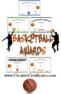 free printable basketball certificate templates with 5 different sample certificates