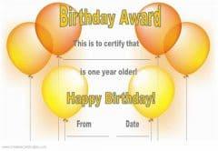 birthday award with yellow and orange balloons