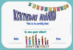printable birthday certificate with purple adn orange text and pictures of gifts, balloons and a trophy