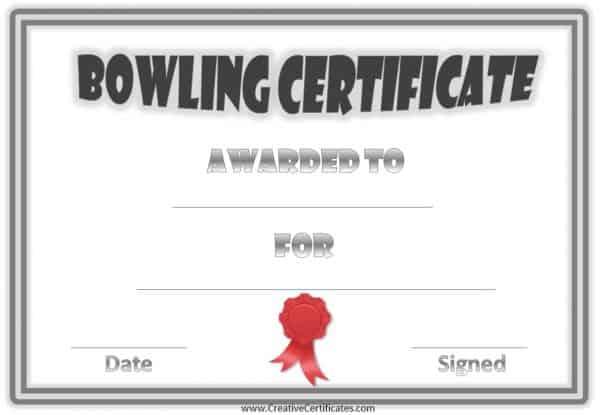 bowling certificate