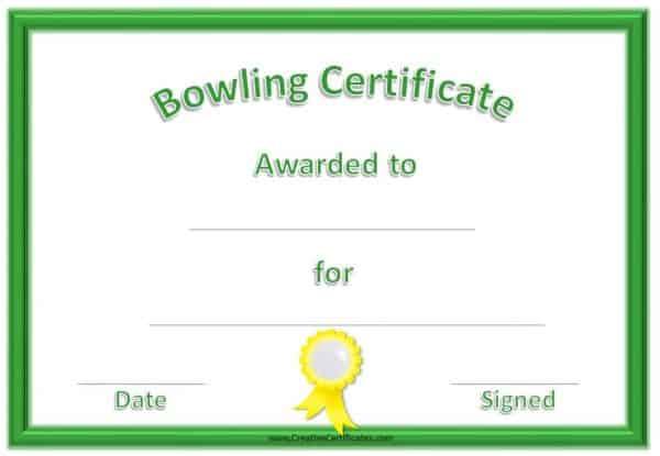 non formal bowling award