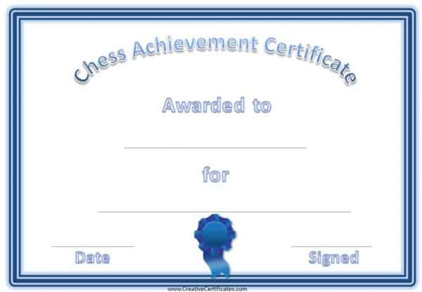 chess award with a blue border and a blue ribbon