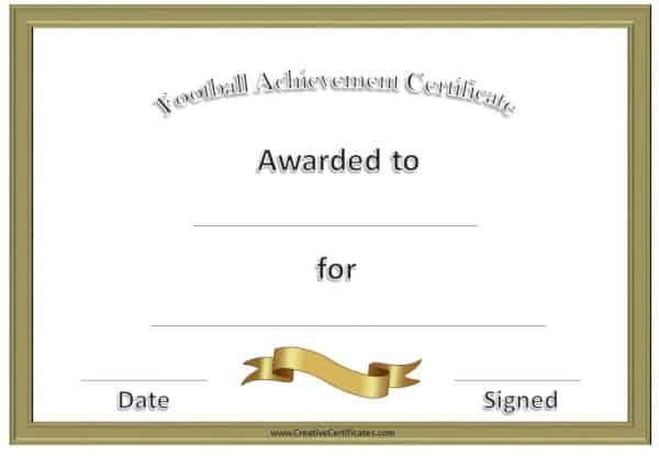 football awards with a gold border and a gold ribbon