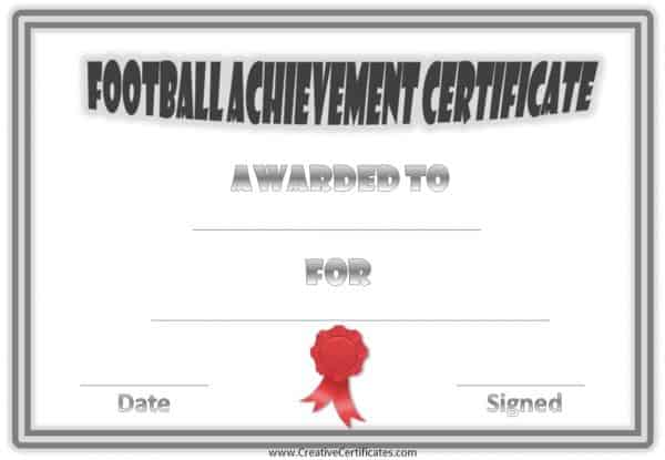 Sports certificates that can be customized. This one has a grey double border and a red ribbon.